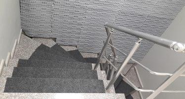 Özbay Proje Merdiven Boşluğu | Gri Labirent Basotect Melamin Sünger Uygulaması